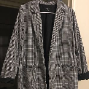 Plaid long blazer NWOT